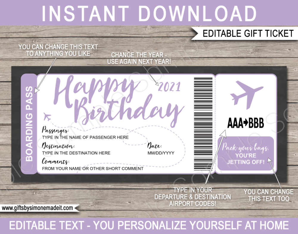 Printable Lilac Birthday Surprise Trip Boarding Pass Template | Fake Plane Ticket Gift | Surprise Birthday Trip Reveal | Flight, Holiday, Getaway, Vacation | INSTANT DOWNLOAD via giftsbysimonemadeit.com