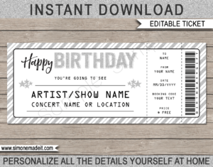 Printable Concert Ticket Template - Surprise Birthday Gift to a Concert | Silver Glitter | Editable & Printable DIY Gift Voucher | Last Minute Gift | Concert, Show, Performance, Band, Artist, Music Festival | Happy Birthday Present | Instant Download via giftsbysimonemadeit.com