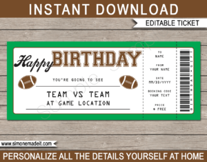 Football Game Ticket Birthday Gift Voucher Template - Surprise tickets to a Football Game - Gift Certificate - Birthday present - DIY Editable & Printable Template | INSTANT DOWNLOAD via giftsbysimonemadeit.com #footballgifttickets #lastminutegift #ticketotthefootball