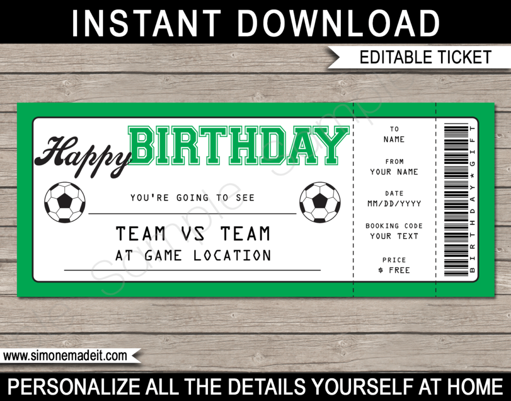 Football Soccer Match Ticket Birthday Gift Voucher Template - Surprise tickets to a Soccer Match - Football Gift Certificate - Birthday present - DIY Editable & Printable Template | INSTANT DOWNLOAD via giftsbysimonemadeit.com #soccergifttickets #lastminutegift #ticketotthefootball