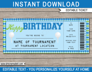 Golf Ticket Birthday Gift Voucher Template - Surprise tickets to a Golf Tournament - Gift Certificate - Birthday present - DIY Editable & Printable Template | INSTANT DOWNLOAD via giftsbysimonemadeit.com #golfgifttickets #lastminutegift #ticketotthegolf