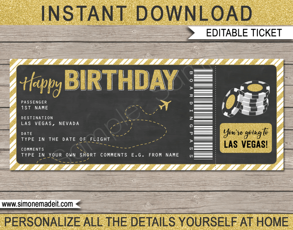 Birthday Las Vegas Trip Boarding Pass Gift template | Gold Glitter & Chalkboard | Surprise Las Vegas Trip, Flight Getaway, Holiday, Vacation | Faux Fake Boarding Pass | Birthday Present | DIY Editable Template | Instant Download via giftsbysimonemadeit.com