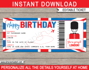 Birthday London Trip Boarding Pass Gift template | Surprise UK Trip, Flight Getaway, Holiday, Vacation | Faux Fake Boarding Pass | Birthday Present | DIY Editable Template | Instant Download via giftsbysimonemadeit.com