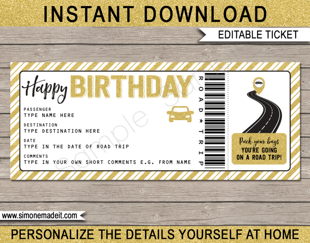 Printable Birthday Road Trip Ticket Template | Gold Glitter | Surprise Road Trip Reveal Gift Ticket | Fake Ticket | Birthday Present | Driving Holiday | INSTANT DOWNLOAD via giftsbysimonemadeit.com