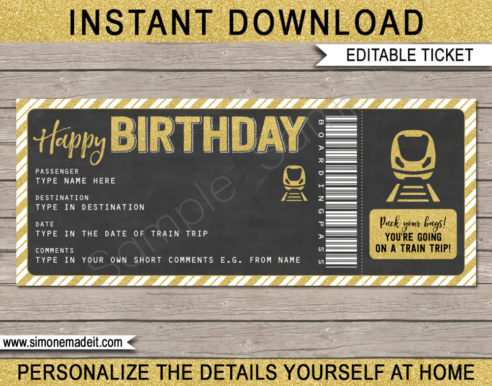 Printable Train Ticket Birthday Gift Template | Surprise Birthday Train Trip Reveal Ticket | Faux Fake Train Boarding Pass | DIY Editable Template | INSTANT DOWNLOAD via giftsbysimonemadeit.com