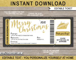 Printable Gold Christmas Cruise Boarding Pass Template | DIY Editable Cruise Ticket Gift Template | Xmas Surprise Cruise Reveal | INSTANT DOWNLOAD via giftsbysimonemadeit.com