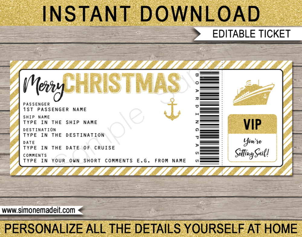 Printable Gold Christmas Cruise Ticket Gift Template | Editable Gift Voucher | Surprise Cruise Reveal | INSTANT DOWNLOAD via giftsbysimonemadeit.com