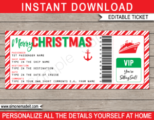 Printable Christmas Cruise Ticket Gift Template | Editable Gift Voucher | Surprise Cruise Reveal | INSTANT DOWNLOAD via giftsbysimonemadeit.com