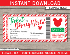 Printable Christmas Ticket to Disney World Template | Editable Gift Voucher | Surprise Disney World Trip Reveal | INSTANT DOWNLOAD via giftsbysimonemadeit.com