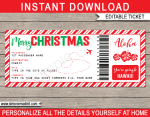 Printable Christmas Hawaii Trip Gift Boarding Pass Template | Flight, Getaway, Holiday, Vacation to Hawaii | Fake Plane Ticket | Surprise Trip Reveal | Christmas Present | DIY Editable Template | Instant Download via giftsbysimonemadeit.com