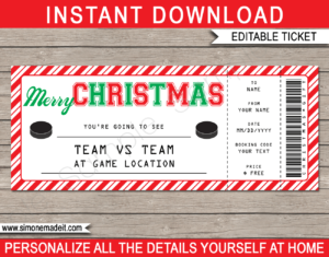 Christmas Hockey Ticket Gift Voucher - Surprise tickets to an Ice Hockey Game - Hockey Puck - Gift Voucher - Gift Certificate - Christmas present - DIY Editable & Printable Template | INSTANT DOWNLOAD via giftsbysimonemadeit.com #hockeygiftticket #lastminutegift