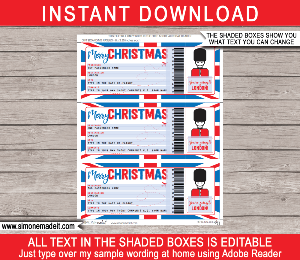 Printable Christmas London Trip Gift Boarding Pass Template | Flight, Getaway, Holiday, Vacation UK | Fake Plane Ticket | Surprise Trip Reveal | Christmas Present | DIY Editable Template | Instant Download via giftsbysimonemadeit.com