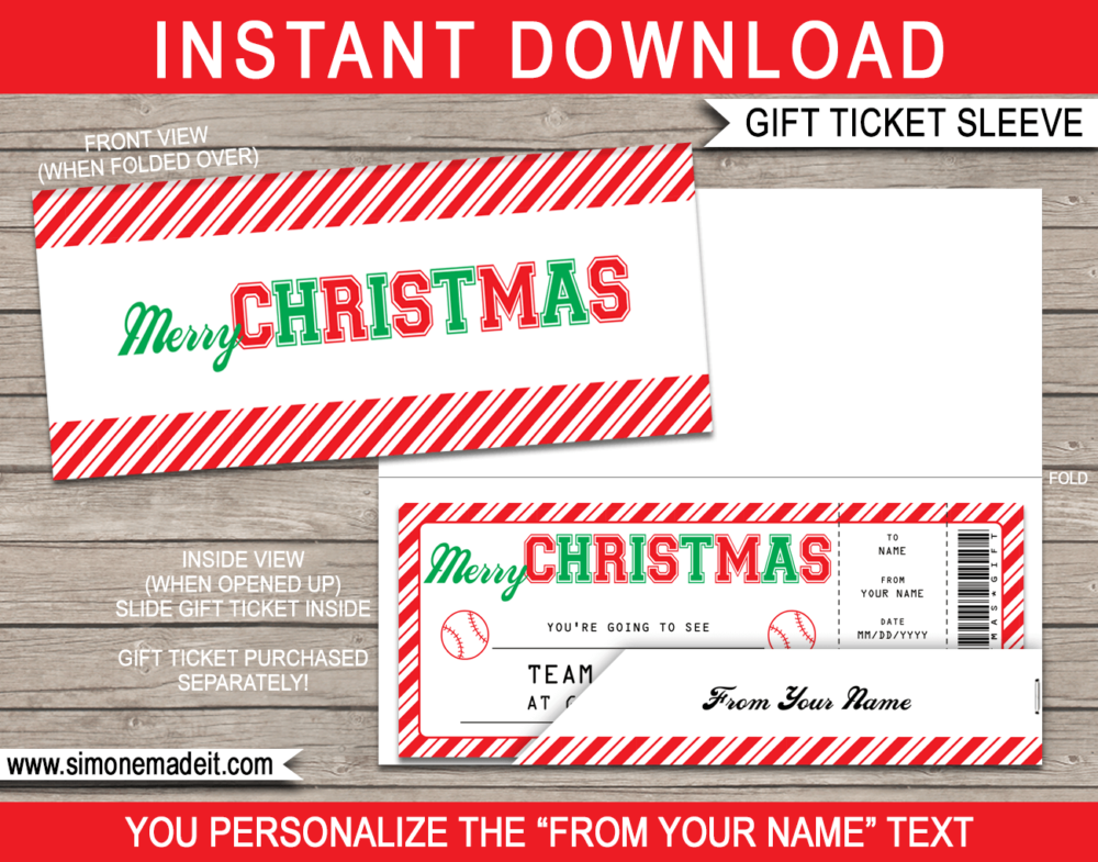 Baseball Christmas Gift Ticket Sleeve Template for Christmas gift tickets or gift vouchers | DIY Editable & Printable Template | INSTANT DOWNLOAD via giftsbysimonemadeit.com