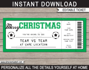 Editable & Printable Christmas Soccer Ticket Gift Voucher Template - Surprise tickets to a Soccer Game - Gift Certificate - Christmas present - INSTANT DOWNLOAD via giftsbysimonemadeit.com #soccergifttickets #lastminutegift