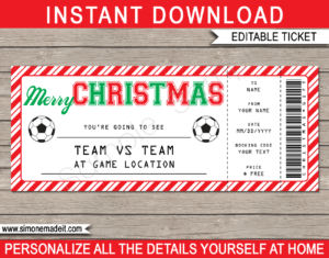 Christmas Soccer Ticket Gift Voucher Template - Surprise tickets to a Soccer Game - Gift Certificate - Christmas present - INSTANT DOWNLOAD via giftsbysimonemadeit.com #soccergifttickets #lastminutegift