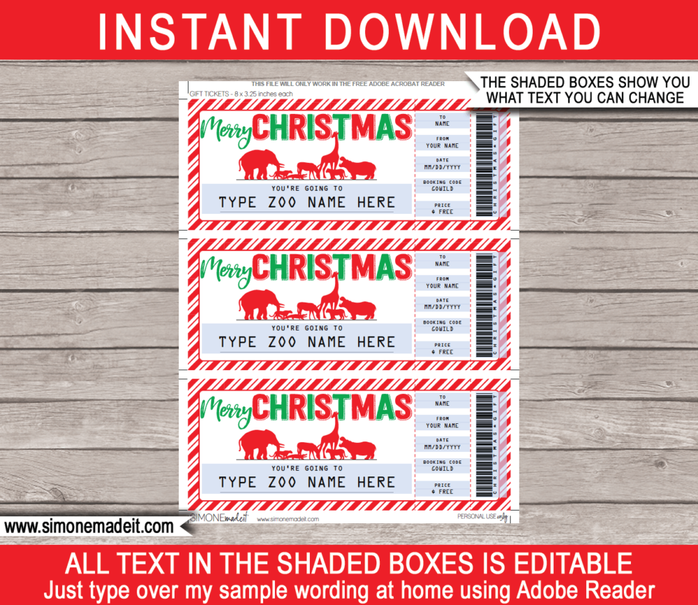 Printable Christmas Zoo Ticket Gift Voucher | Safari Wildlife Park Tickets | Surprise Tickets to the Zoo | Fake Zoo Tickets | Christmas Present | DIY Editable & Printable Template | Instant Download via giftsbysimonemadeit.com