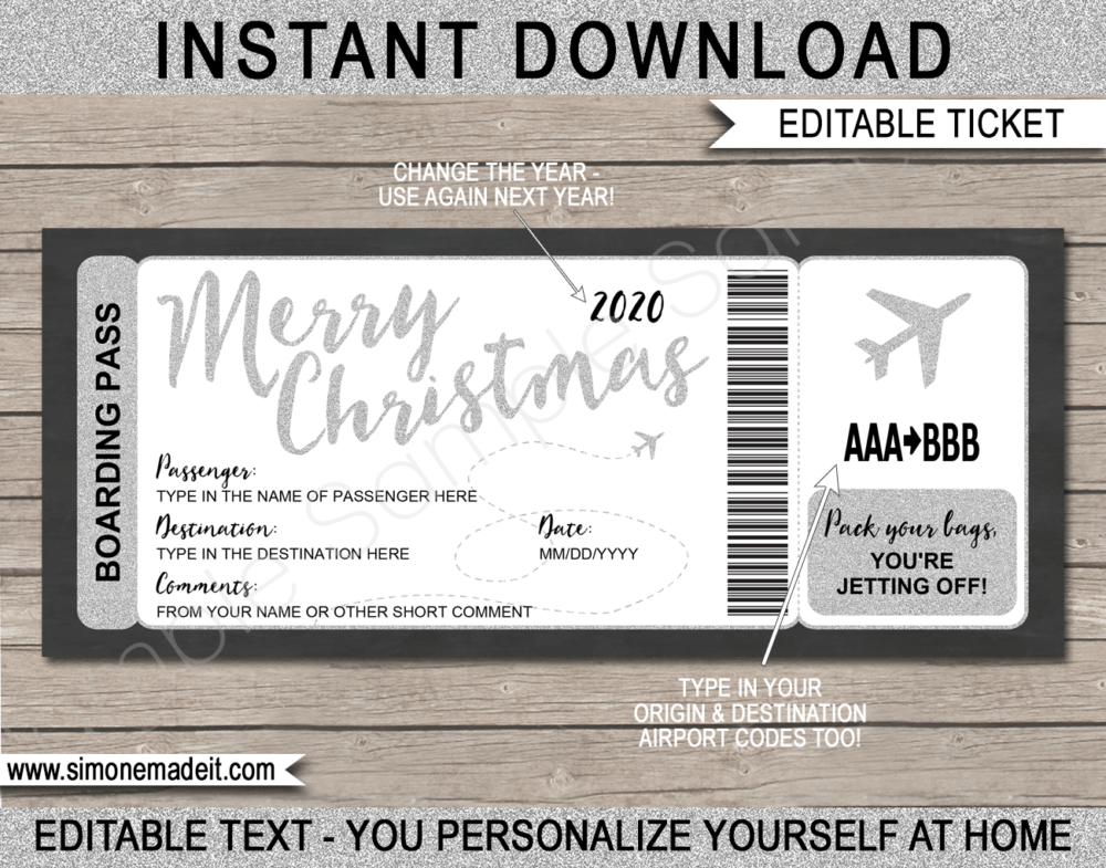 Printable Silver Christmas Plane Boarding Pass Gift Template | Fake Plane Gift Ticket | Surprise Trip Reveal | Flight, Holiday, Getaway, Vacation | INSTANT DOWNLOAD via giftsbysimonemadeit.com