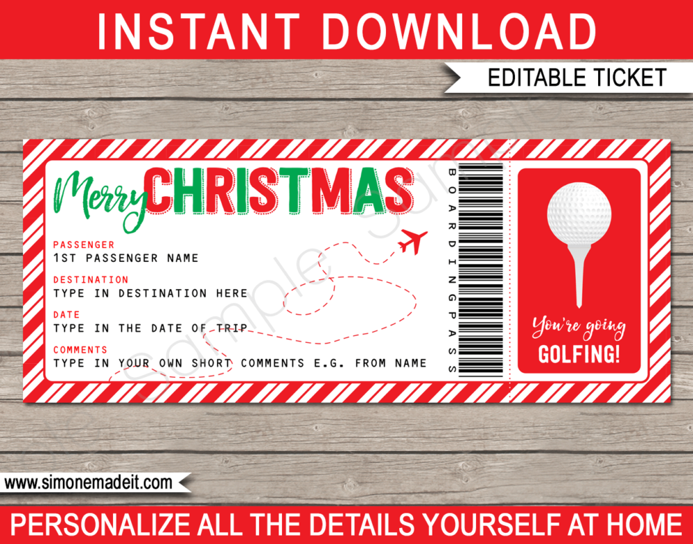 Printable Christmas Golfing Boarding Pass Gift Ticket Template | Surprise Golfing Trip Reveal | Faux or Fake Plane Ticket | Christmas Present | DIY Editable & Printable Template | Instant Download via simonemadeit.com