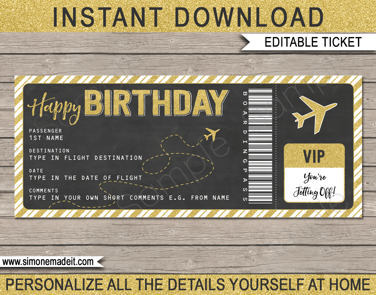 Printable Birthday Boarding Pass Gift Ticket template | Gold Glitter & Chalkboard | Surprise Trip, Flight Getaway, Holiday, Vacation | Faux Fake Boarding Pass | Birthday Present | DIY Editable Template | Instant Download via giftsbysimonemadeit.com