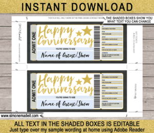 Printable Anniversary Concert Ticket Gift Voucher template - Surprise Anniversary Present to a Concert | Gold Glitter | Editable & Printable DIY Voucher | Last Minute Surprise Gift | Concert, Show, Performance, Band, Artist, Music Festival, Movie | Instant Download via giftsbysimonemadeit.com