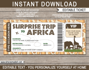 Printable Surprise trip to Africa Boarding Pass Template | African Safari Trip Reveal | Giraffe | Faux Fake Plane Ticket | Any Occasion, Birthday, Anniversary, Christmas Gift | DIY Editable & Printable Template | Instant Download via giftsbysimonemadeit.com