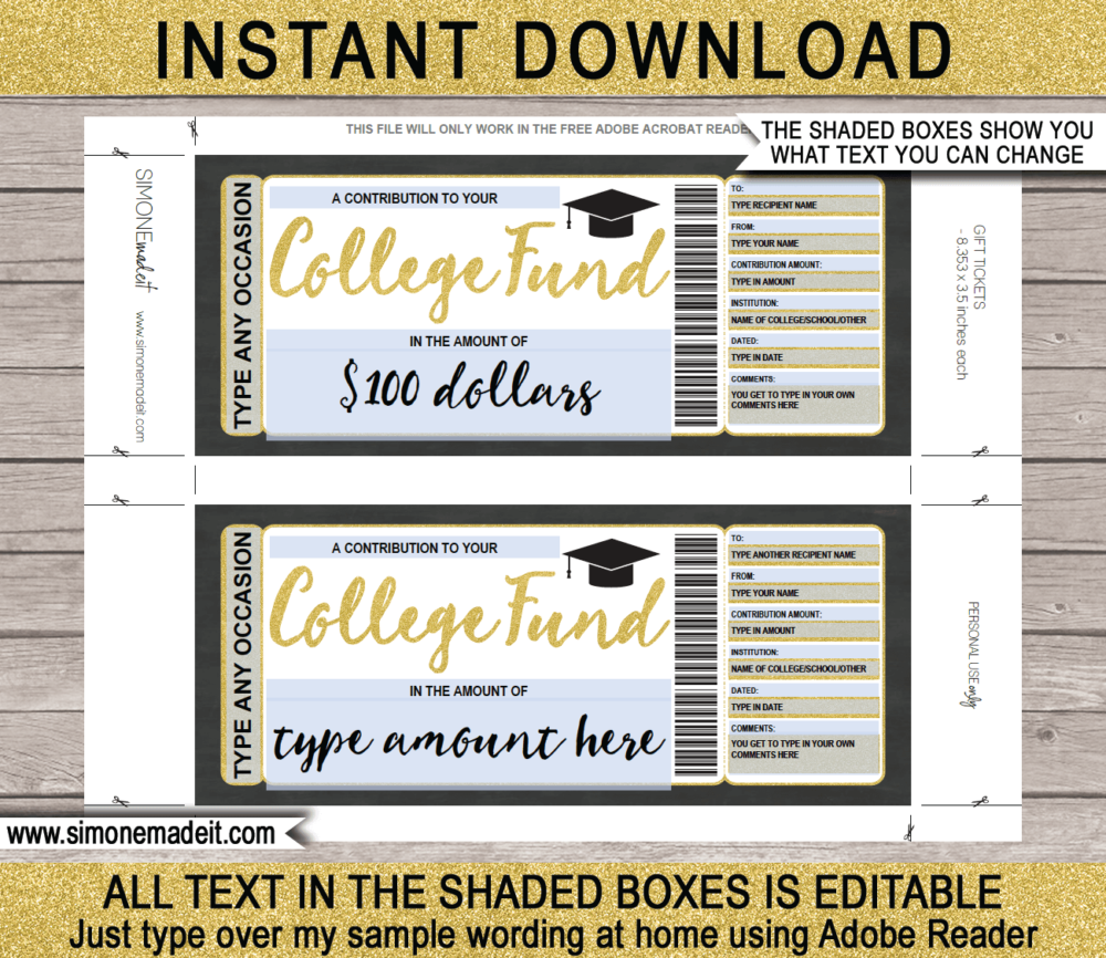 Printable College Savings Fund Gift Certificate template | 529 College Savings Plan Contribution | Education Tuition Fee Gift | Gold Glitter | Any Occasion - birthday, christmas, graduation | Editable Template | INSTANT DOWNLOAD via giftsbysimonemadeit.com
