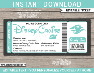 Aqua Printable Surprise Disney Cruise Boarding Pass Template | Editable Cruise Ticket Gift Voucher | Disney Cruise Reveal | Any Occasion | Happy Birthday | Merry Christmas | INSTANT DOWNLOAD via giftsbysimonemadeit.com