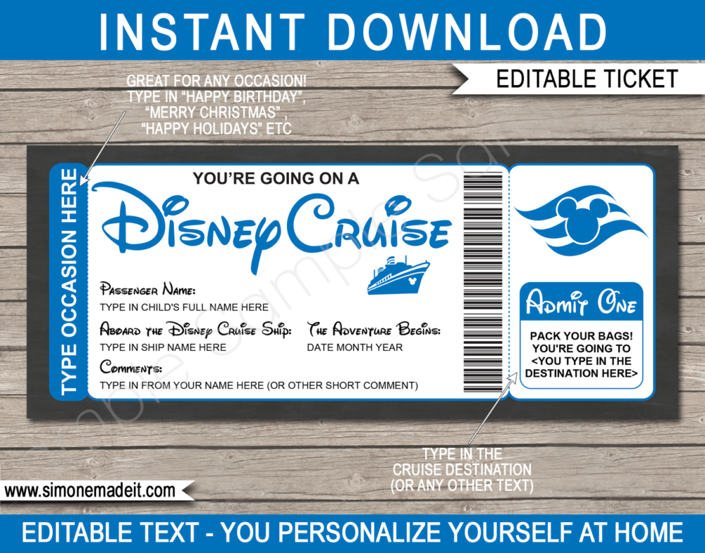 Blue Printable Surprise Disney Cruise Boarding Pass Template | Editable Cruise Ticket Gift Voucher | Disney Cruise Reveal | Any Occasion | Happy Birthday | Merry Christmas | INSTANT DOWNLOAD via giftsbysimonemadeit.com
