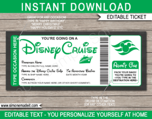 Green Printable Surprise Disney Cruise Boarding Pass Template | Editable Cruise Ticket Gift Voucher | Disney Cruise Reveal | Any Occasion | Happy Birthday | Merry Christmas | INSTANT DOWNLOAD via giftsbysimonemadeit.com