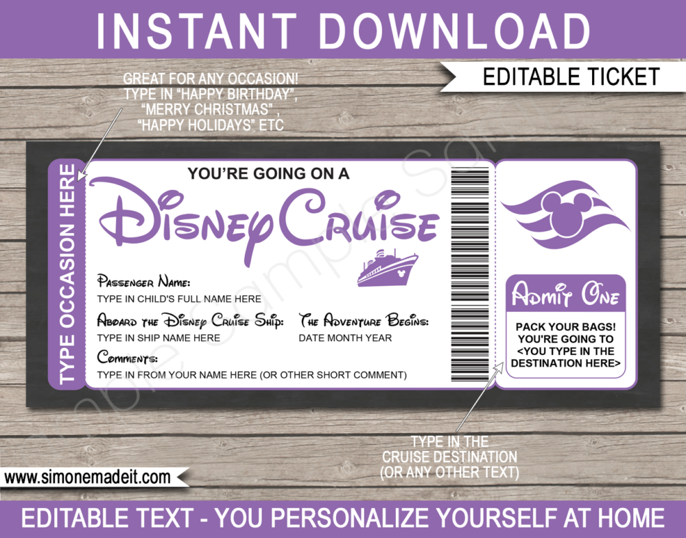 Purple Printable Surprise Disney Cruise Boarding Pass Template | Editable Cruise Ticket Gift Voucher | Disney Cruise Reveal | Any Occasion | Happy Birthday | Merry Christmas | INSTANT DOWNLOAD via giftsbysimonemadeit.com