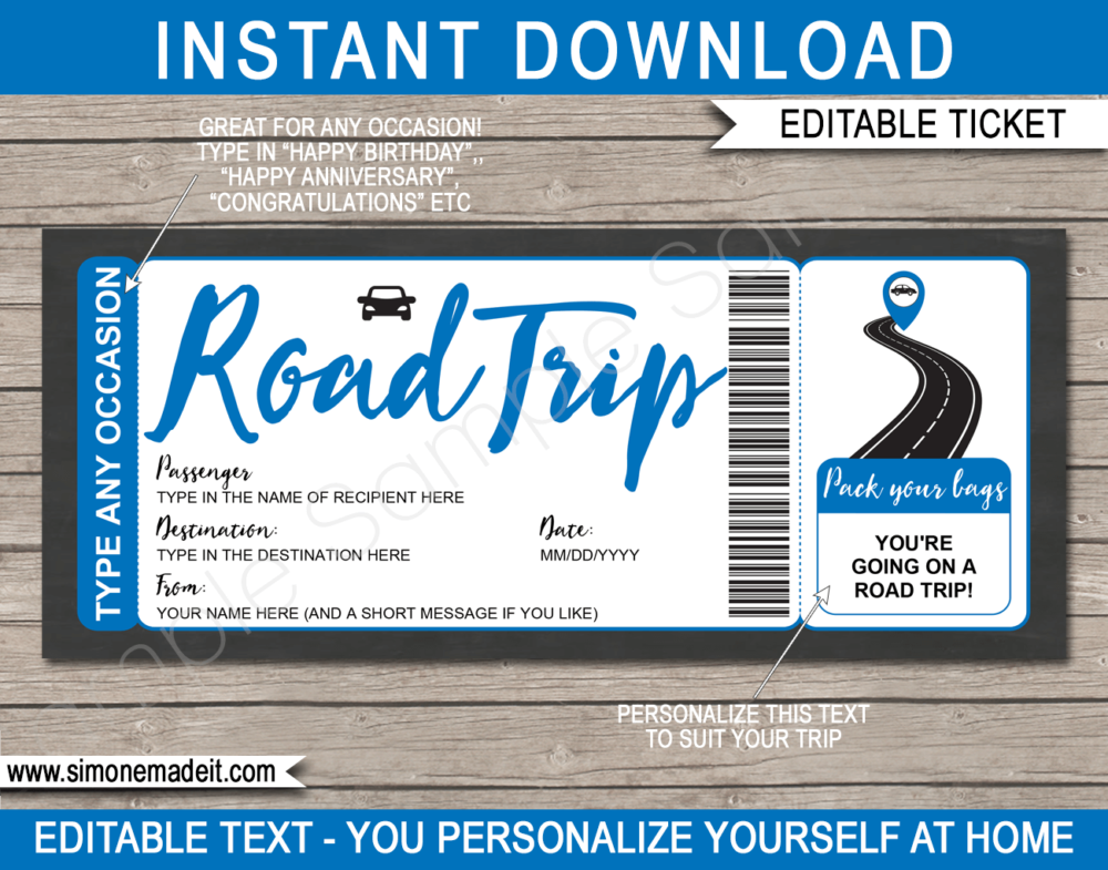 Printable Road Trip Reveal Template | Editable Road Trip Tickets | Blue | Faux Fake Gift Ticket | Any Occasion - Birthday, Christmas, Anniversary, Graduation | Driving Holiday Vacation | INSTANT DOWNLOAD via giftsbysimonemadeit.com