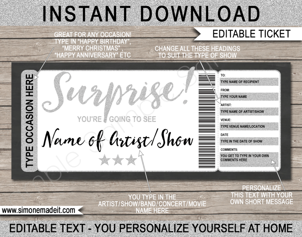 Surprise Concert Ticket Gift Certificate Template | Silver Glitter | Editable & Printable DIY Gift Certificate | Last Minute Surprise Gift to a Concert, Show, Performance, Band, Artist, Music Festival, Movie Premiere | Any Occasion | Birthday, Anniversary, Christmas, Retirement, Valentine's Day, Holidays, Graduation, Congratulations | Instant Download via giftsbysimonemadeit.com