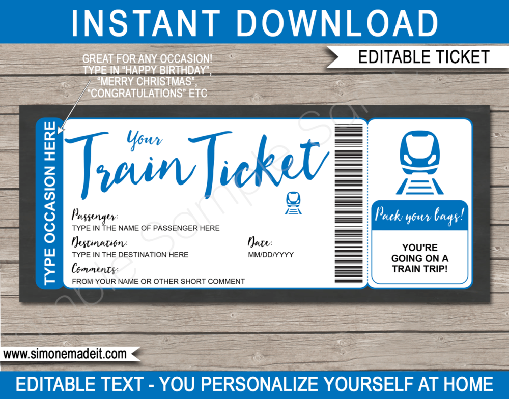Printable Train Ticket Gift Voucher Template | Blue | Surprise Train Trip Reveal Ticket | Faux Fake Train Boarding Pass | DIY Editable Template | INSTANT DOWNLOAD via giftsbysimonemadeit.com