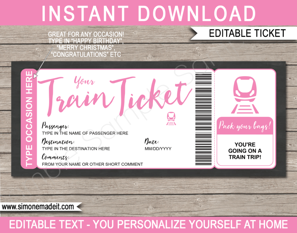 Printable Train Ticket Gift Voucher Template | Pink | Surprise Train Trip Reveal Ticket | Faux Fake Train Boarding Pass | DIY Editable Template | INSTANT DOWNLOAD via giftsbysimonemadeit.com