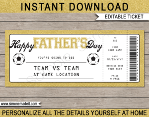 Printable Gold Father's Day Soccer Ticket Gift Voucher Template - Surprise tickets to a Football Soccer Game for Dad - Gift Certificate - Father's Day present - DIY Editable & Printable Template - INSTANT DOWNLOAD via giftsbysimonemadeit.com #lastminutegift #giftfordad #fathersdaygift