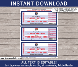 Printable Florida Panthers Game Ticket Gift Voucher Template | Printable Surprise NHL Hockey Tickets | Editable Text | Gift Certificate | Birthday, Christmas, Anniversary, Retirement, Graduation, Mother's Day, Father's Day, Congratulations, Valentine's Day | INSTANT DOWNLOAD via giftsbysimonemadeit.com