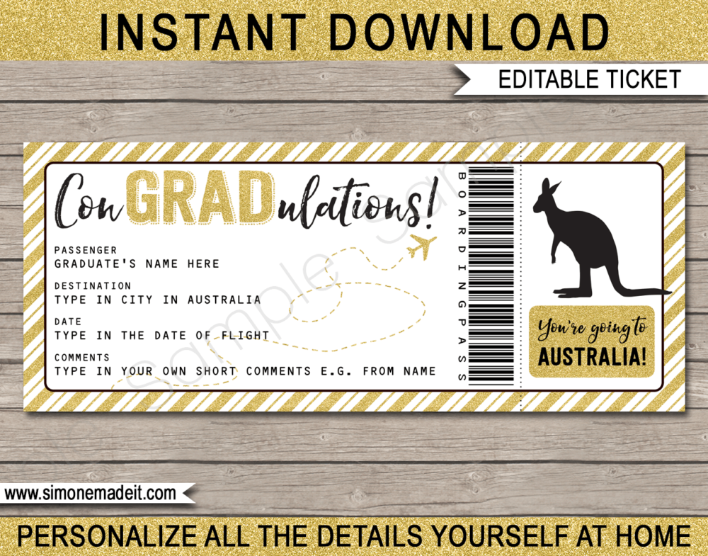 Printable Graduation Trip to Australia Boarding Pass Template | Surprise Trip Reveal | Post Grad Flight, Trip, Vacation Down Under | Faux Fake Plane Ticket | Congradulations | Graduate Gift | DIY Editable & Printable Template | Instant Download via giftsbysimonemadeit.com