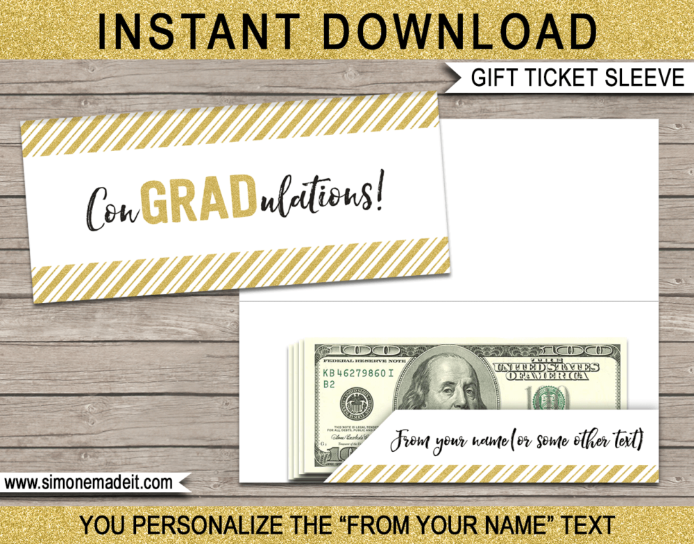 Gold Glitter Printable Graduation Gift Ticket Sleeve Template for gift tickets, fake boarding passes, gift vouchers or money | ConGRADulations | DIY Editable & Printable Template | INSTANT DOWNLOAD via giftsbysimonemadeit.com
