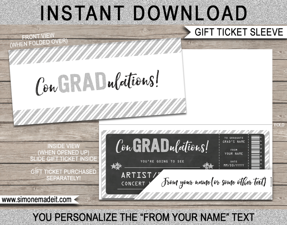 Printable Graduation Gift Ticket Sleeve Template for gift tickets, fake boarding passes, gift vouchers or money | ConGRADulations | DIY Editable & Printable Template | INSTANT DOWNLOAD via giftsbysimonemadeit.com