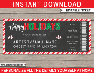 Printable Holidays Gift Concert Ticket Template | Surprise Tickets to a Concert, Band, Show, Music Festival, Performance, Artist | Fake Concert Ticket | Holiday Present | DIY Editable & Printable Template | Instant Download via giftsbysimonemadeit.com