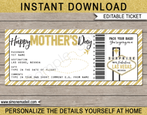 Printable Mother's Day Las Vegas Boarding Pass template | Surprise Trip Reveal, Flight, Getaway, Holiday, Vacation to Las Vegas | Faux Fake Plane Boarding Pass | Mothers Day Present | DIY Editable Template | Instant Download via giftsbysimonemadeit.com