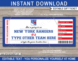 Printable New York Rangers Game Ticket Gift Voucher Template | Printable Surprise NHL Hockey Tickets | Editable Text | Gift Certificate | Birthday, Christmas, Anniversary, Retirement, Graduation, Mother's Day, Father's Day, Congratulations, Valentine's Day | INSTANT DOWNLOAD via giftsbysimonemadeit.com