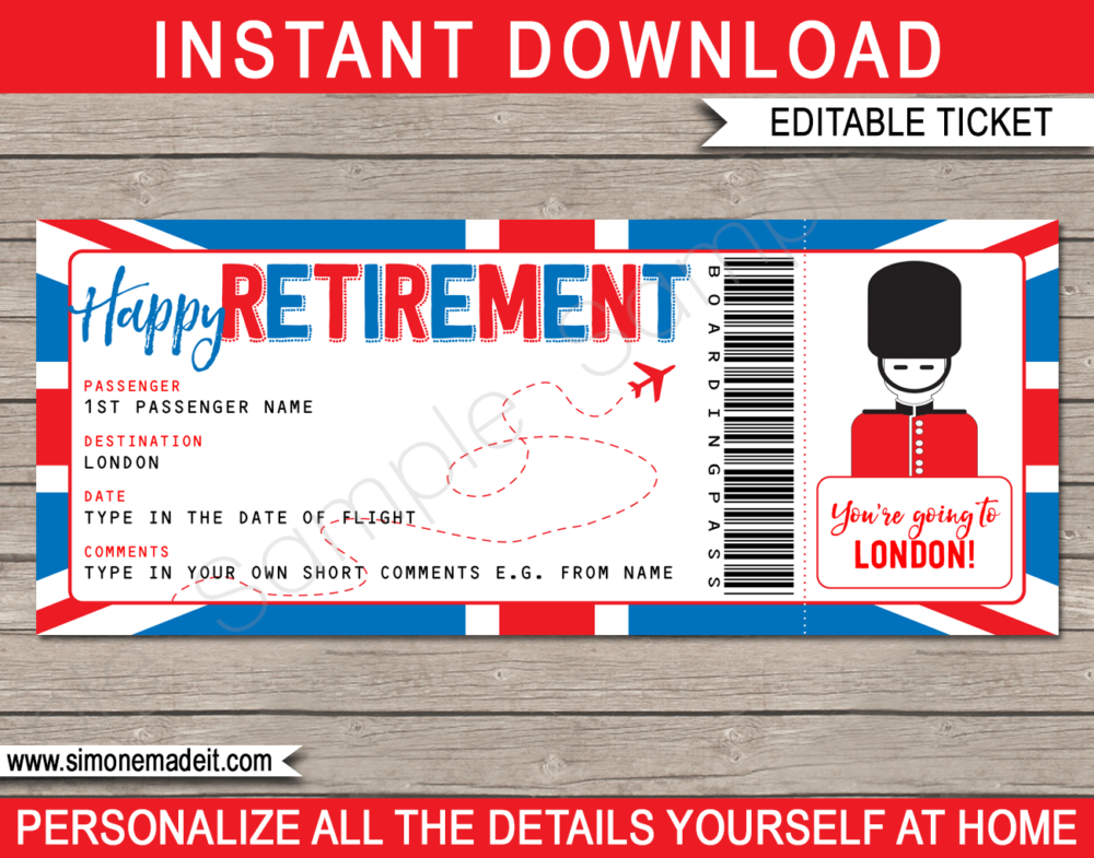 Printable Surprise Retirement Trip to London Boarding Pass template | Surprise Trip Reveal, Flight, Getaway, Holiday, Vacation to the UK | Faux Fake Plane Boarding Pass | Retirement Present | DIY Editable Template | Instant Download via giftsbysimonemadeit.com