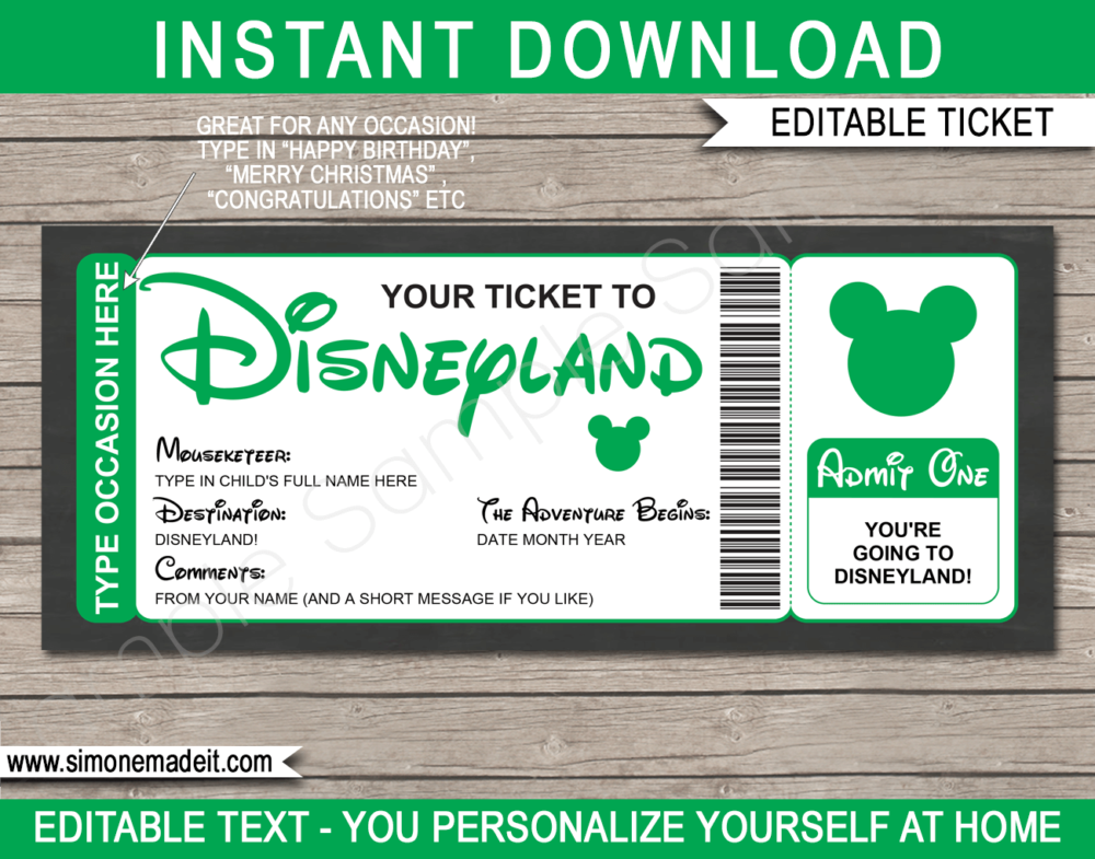 Green Surprise Trip to Disneyland Ticket Template | Printable Disney Trip Reveal Gift | Editable Disney Gift Voucher or Certificate | Any Occasion | Happy Birthday | Merry Christmas | Congratulations | INSTANT DOWNLOAD via giftsbysimonemadeit.com