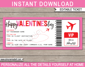 Printable Valentine's Day Boarding Pass Gift Ticket template | Surprise Trip Reveal, Flight, Getaway, Holiday, Vacation | Faux Fake Plane Boarding Pass | Valentines Day Present | DIY Editable Template | Instant Download via giftsbysimonemadeit.com