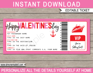 Printable Surprise Valentines Day Cruise Ticket Boarding Pass Gift Template | Editable Gift Voucher | Surprise Cruise Trip Reveal | INSTANT DOWNLOAD via giftsbysimonemadeit.com