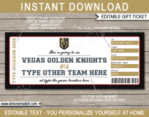 Printable Vegas Golden Knights Game Ticket Gift Voucher Template | Printable Surprise NHL Hockey Tickets | Editable Text | Gift Certificate | Birthday, Christmas, Anniversary, Retirement, Graduation, Mother's Day, Father's Day, Congratulations, Valentine's Day | INSTANT DOWNLOAD via giftsbysimonemadeit.com