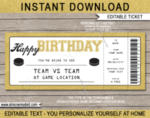 Hockey Game Ticket Birthday Gift Voucher Template - Surprise tickets to a Hockey Game - Gift Certificate - Birthday present - DIY Editable & Printable Template | INSTANT DOWNLOAD via giftsbysimonemadeit.com #hockeygifttickets #lastminutegift #ticketotthehockey