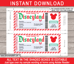Holiday Disneyland Ticket Template | Printable Surprise Disneyland Trip Reveal Gift | Editable Disney Gift Voucher or Certificate | INSTANT DOWNLOAD via giftsbysimonemadeit.com