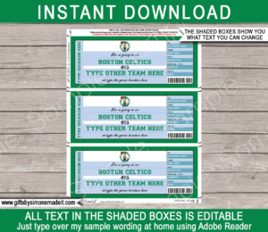 Editable & Printable Boston Celtics Game Ticket Gift Voucher Template | Surprise NBA Basketball Personalized Tickets | Custom Text | Gift Certificate | Last Minute Birthday, Christmas, Anniversary, Retirement, Graduation, Mother's Day, Father's Day, Congratulations, Valentine's Day Present | INSTANT DOWNLOAD via giftsbysimonemadeit.com